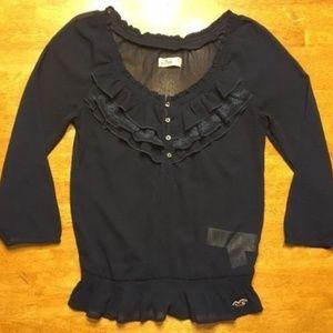 Hollister Women's Navy Blue Dress Shirt - Size: S